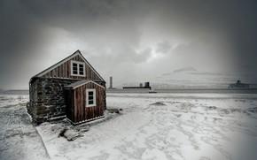 inverno, casa, Montagne, paesaggio