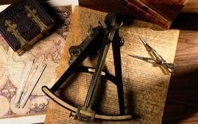 Annata, mappa, libro, dispositivi, natura morta, retr