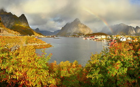 mountains, norway rivers reine, gravdalsbukta clouds rainbow shrubs