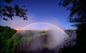 South Africa, the border of Zambia and Zimbabwe, Zambezi River, waterfall, Victoria, moonbow, night, Star, Trees, peter dolkens photography