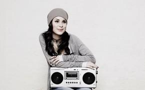 music, girl, brunette, smile, cap, style, background