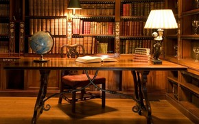 cabinet, Books, table, lamp, globe