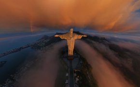 Рио-де-Жанейро, город, Статуя Христа Искупителя, радуга, облака, восход