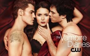 The Vampire Diaries, serie, Paul Wesley, Nina Dobrev, Ian Somerhalder, fondo, rojo