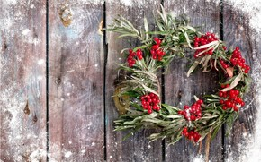 frost, Berries, wreath, New Year
