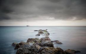 море, корабль, пейзаж
