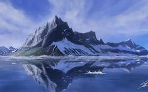 арт, озеро, гора, снег, отражение, гладь, пейзаж, лед, холод