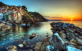 tramonto, paesaggi, natura, Spiaggia, Italia, hdr fotografia, rocce, Mare, sfondo, carta da parati
