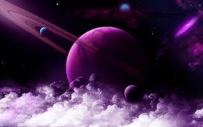 スペース, 惑星, スター, 雲