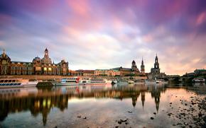 dresden, Dresden, deutschland, germany, Germany, Morning, city, building, wharf, Boat, Elba, elbe, river