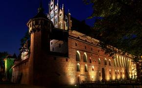 Castles (Fortress), Poland, malbork, brick, night