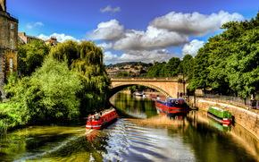 United Kingdom, river, bridge, Ships, boats, avon bristol, England
