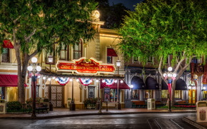 USA, home, california, anaheim, disneyland, Street, lights, night, Trees