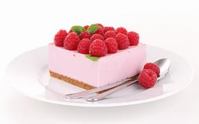 cake, Berries, raspberry, sweet, dessert, spoon