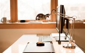 tavolo, controllare, Mouse del computer, tastiera, lampada, sul posto di lavoro