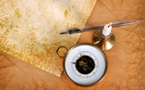 brjula, vela, papel, viejo, manejar, candelero