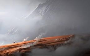 арт, горы, скала, дым, путники, конь, всадник