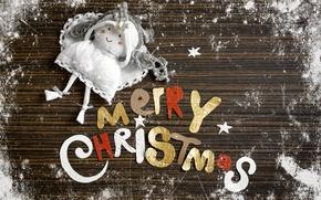 Рождество, поздравление, надпись, буквы, ангел, кукла, снег, иней, Новый год