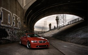 BMW, rouge, pont, canal