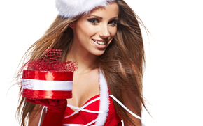 girl, Snow Maiden, brunette, gift, smile, cap, gloves, red, box, white background, Christmas, New Year, Holidays, New Year