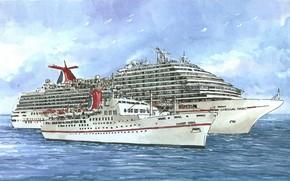 рисунок, лайнеры, чайки, море, плавание