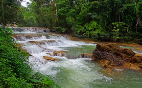 cascade, cascade, agua azul, Mexique, Chiapas