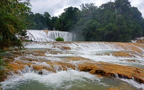 waterfall, cascade, agua azul, Mexico, Chiapas