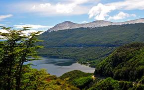lake, Argentina, lake fagnano, clouds, Mountains