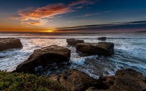 puesta del sol, mar, paisaje