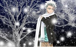 Anime, Javellisant, mec, charpe, neige, hiver, nuit