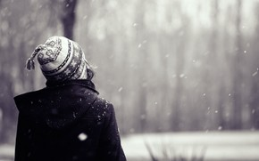 Mood, girl. winter, snow, cap, hair, background, wallpaper