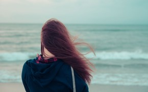 Mood, girl, brunette, hair, wind, sea, river, water, background, wallpaper