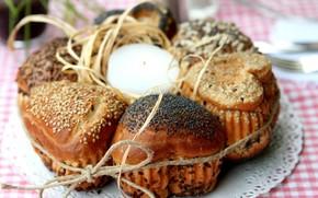 еда, хлеб, хлебобулочные изделия, булочки, мак, веревки, сердце, форма, свеча, свечка, фон, обои