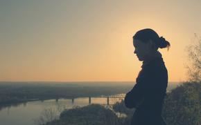brunette, view, nature, forest, river, bridge, sky, dawn, sunset