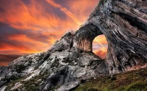coucher du soleil, Montagnes, paysage
