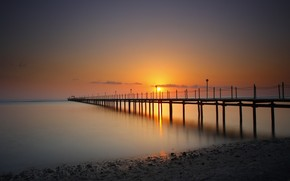 sunset, sea, pier, berth, sun