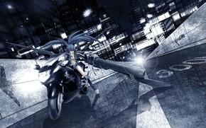 арт, аниме, мато курои, девушка, город, мотоцикл, оружие, свет, огни, дома, дорога, стрелок с черной скалы