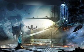 Art, City of the Future, building, Ships