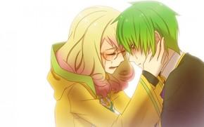 Anime, nia, tipo, Lgrimas, sentimientos, dolor, par, amor, gafas
