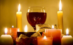 Candles, lights, goblet, wine, red