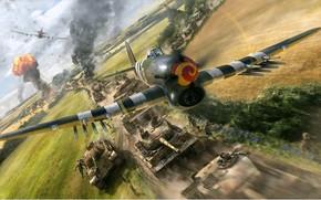airstrike, English, Stormtroopers, the German, to column, World War II.