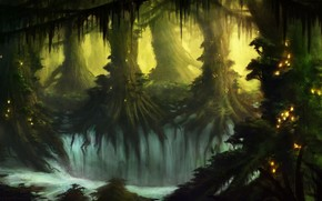 Art, fantasy, forest, Trees, thicket, thicket, waterfalls