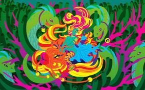 рисунок, вектор, рыба, змеи, девушка, водоросли