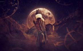 spirit, Indian, shaman, tambourine, moon, rocks