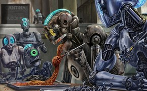опасная, еда, роботы, спагетти, соус