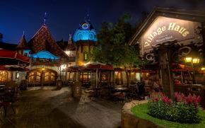 Stati Uniti d'America, Disneyland California, notte, strada, caff, silenzio, tempo,