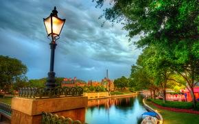 Francia, cielo, Disneyland, Parigi, semaforo, nuvole