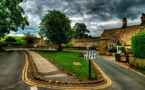Regno Unito, strada, Bolton Abbey villaggio, Yorkshire, erba, prato, strada