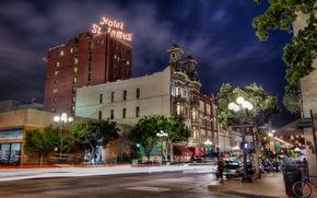 USA, home, road, san diego, california, hotel, Street, lights, night