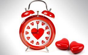 love, alarm clock, red, Hearts